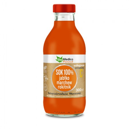 Sok 100 % jabłko,marchew,rokitnik 300ml
