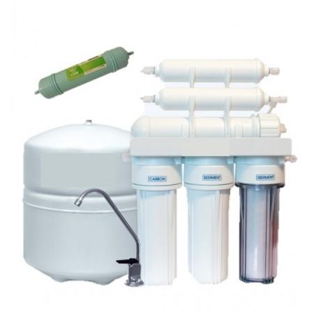 """ZESTAW 5-stopniowy system oczyszczania wody metodą RO """"odwróconej osmozy"""" + wkład jonizujący  REDOX - MONTAŻ GRATIS!!"""