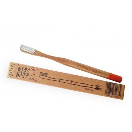 Bambusowa szczoteczka do zębów miękka pomarańczowa